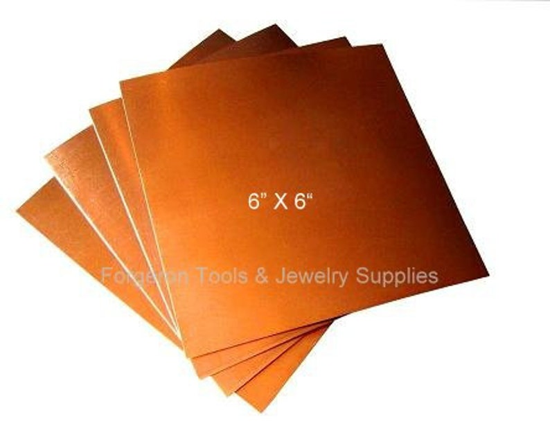 CU60 COPPER SHEET 20 Gauge 6 X 6 Inch Stamping and More 1 Sheet Solid Copper For Etching Jewelry Design