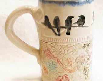 birds on a branch ceramic coffee mug 16oz stoneware 16A024