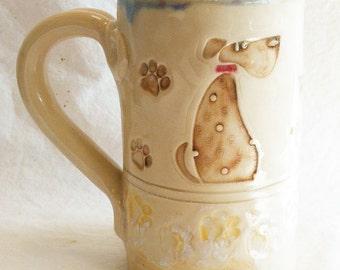 dog ceramic 16oz coffee mug stoneware 16B079