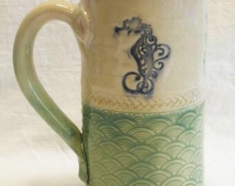 Sea side ceramic coffee mug 20oz stoneware 20C012