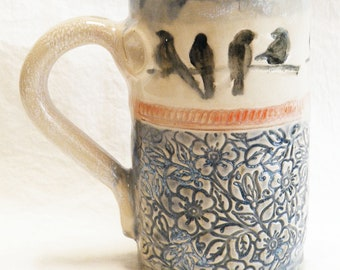 birds on a branch ceramic coffee mug 16oz stoneware 16A023