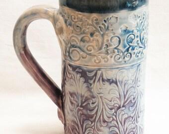 Floral ceramic coffee mug 18oz stoneware 18C083