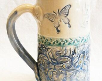 ceramic butterfly coffee mug 20oz  stoneware 20C052