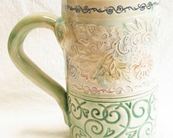 ceramic artisan floral coffee mug 16oz stoneware 16A021