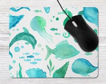Beach Office Decor, Beach Mouse Pad, Nautical Mousepad, Watercolor  Mousepad, Office Accessory, Beach House Home Office Decor, Vacation Home