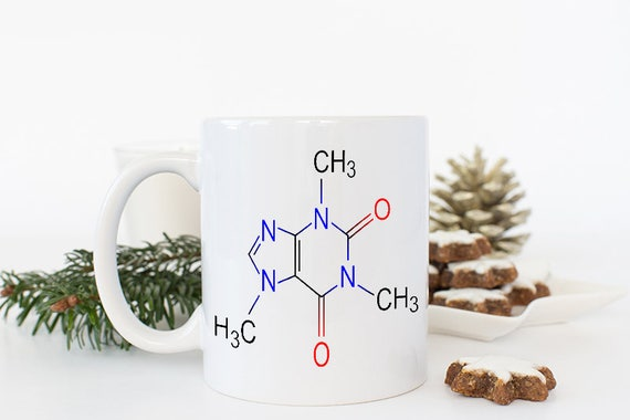 Coffee Caffeine Molecule Coffee Mug with Diagram, Science Mug, Science Gift, Science Teachers Gift, college gifts, Coffee Gifts for Him
