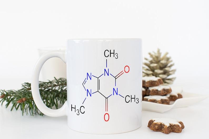 Gifts for Him Coffee Mug for Men Caffeine Molecule Mug image 0