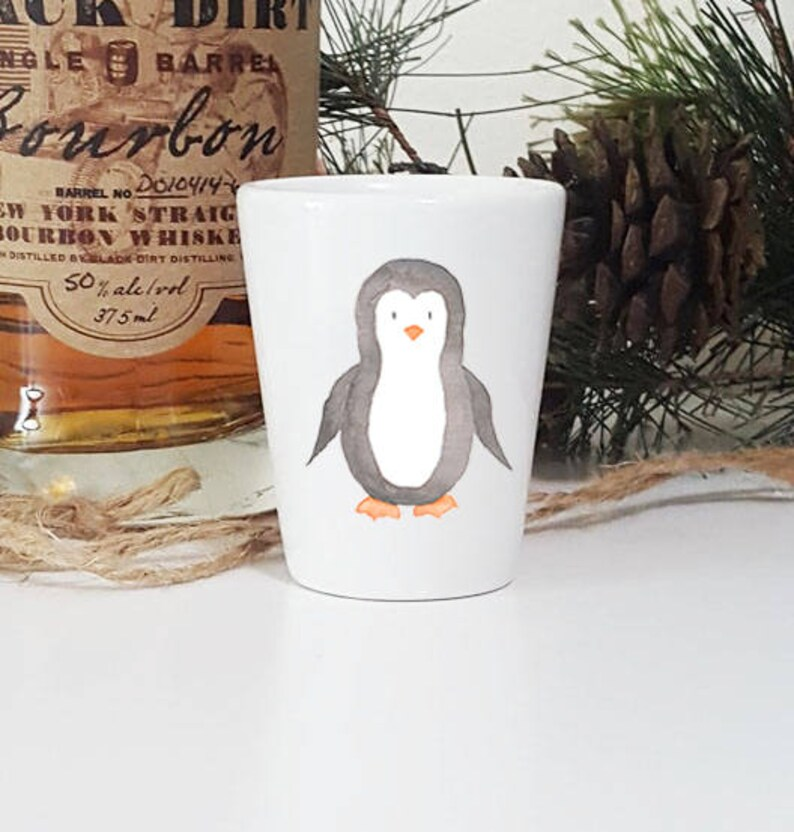 Penguin Gift Penguin Party Best Friend Birthday Party gifts 21st Birthday Gift Ceramic Shot glasses Penguin Shot Glass Cute Shot glass