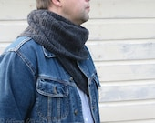 Gray hand knit scarf for men or women Wool neck warmer Long textured scarf Unisex winter gift