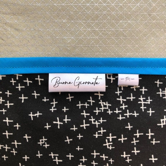200 custom 1 tags clothing care label DIY by gutenTAGs center fold hang tag quilt sew on *DIY design layout* made in usa