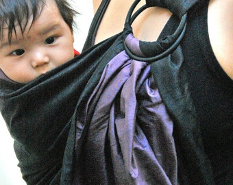 """Double Layers Baby Carrier Big Sale- Baby Ring Sling Elegant SILK Ring Sling Reversible - """"Purple Love"""" Baby Carrier Fast Shipping"""
