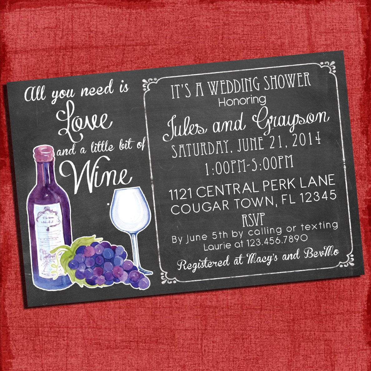 Print Wedding Invitations At Home: Printable Wine Theme Couples/Coed Wedding Shower