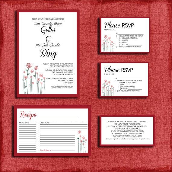 Diy Wedding Invitations Canada: Printable Modern Rose Potluck Style Wedding Invitation Set