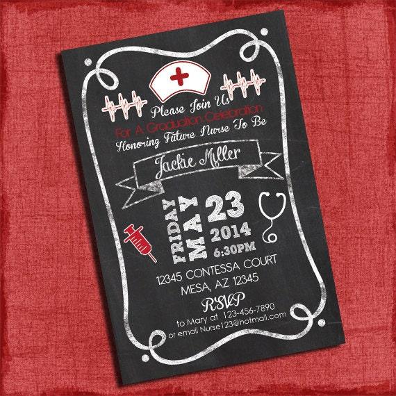 nurse graduation party invitation chalkboard style 4x6 or 5x7 etsy