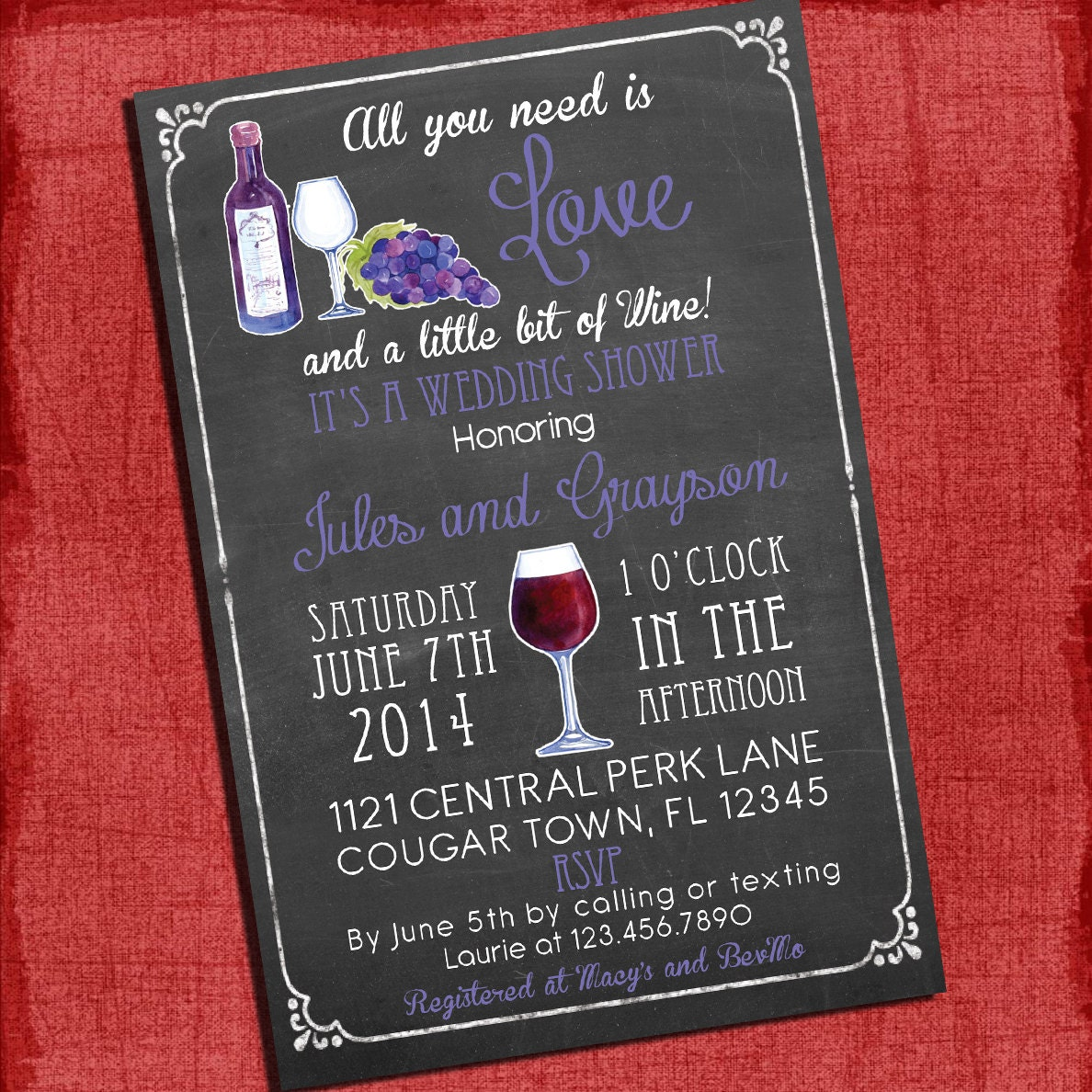 Printable Wine theme Couples/Coed Wedding Shower Invitation I | Etsy