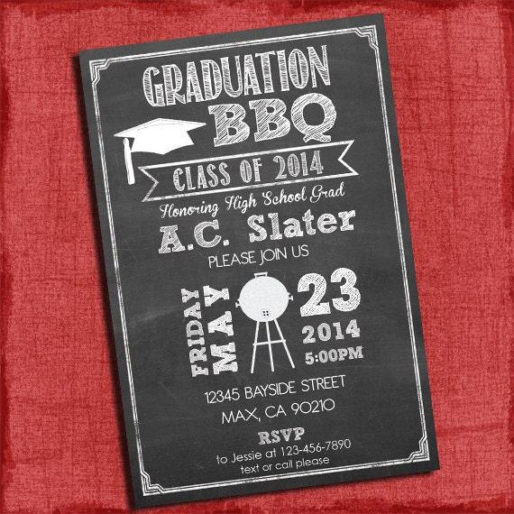 bbq graduation party invitation chalkboard style 4x6 or 5x7 etsy
