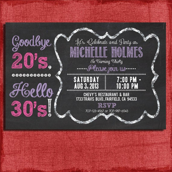 30th 40th 50th Chalkboard Style Birthday Invitation 4x6 Or