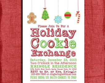 Printable Holiday Cookie Exchange Party Invitation-DIY