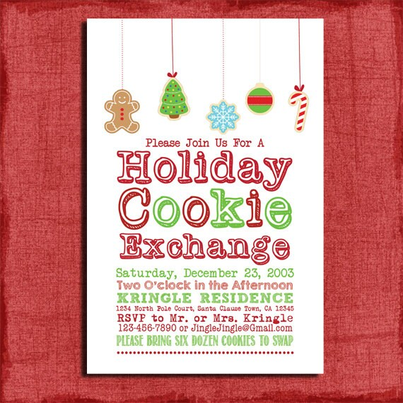 Printable Holiday Cookie Exchange Party Invitation Diy By