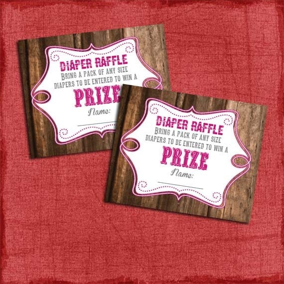 printable rustic baby shower diaper raffle tickets matches etsy