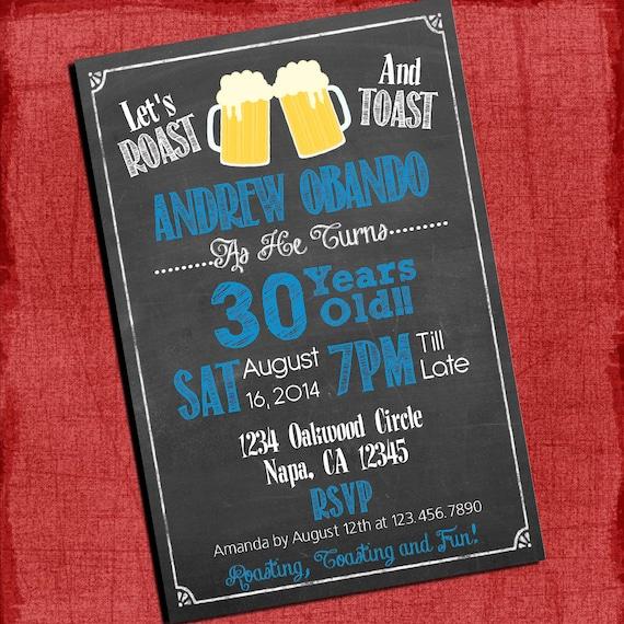 Roast And Toast Beer Cheers Chalkboard Style Birthday Invitation 4x6