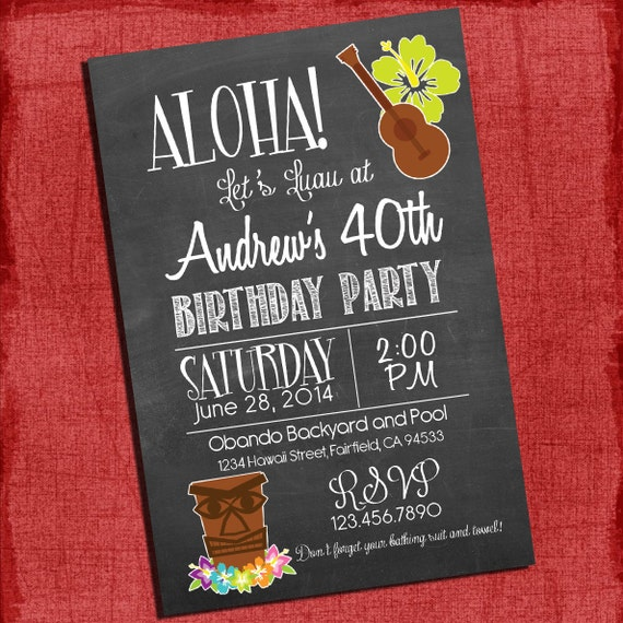 Printable Hawaiian Luau With Tiki 30th 40th 50th Birthday Chalk Style Invitation Any Age I Design You Print