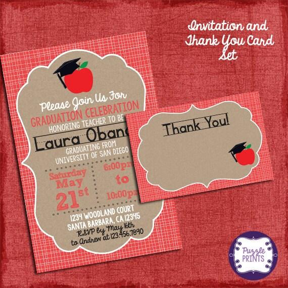 Teacher Graduation Invitation And Thank You Card Set