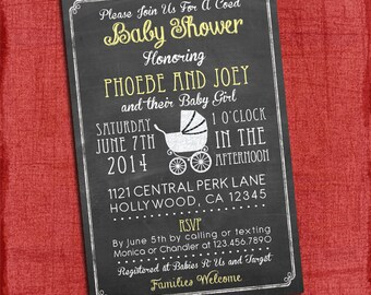 Printable Baby Girl Shower Chalkboard Invitation  - Coed Baby Shower Invite