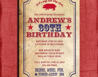 BBQ Birthday Invitation or  Surprise Birthday  4x6 Invitation-Printable and DIY