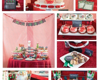 Chalk Style Holiday or Christmas Cookie Exchange PARTY PACKAGE-DIY