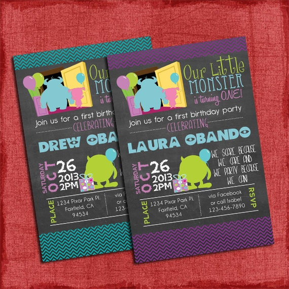 Printable Chalk Style Monsters Inspired 1st Birthday