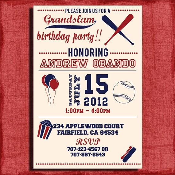 Vintage Baseball Birthday Invitation 4x6 Or 5x7 Printable And DIY
