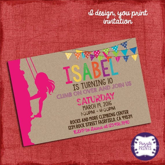 Rock Climbing Invitation Girl Birthday Invitation I Design You