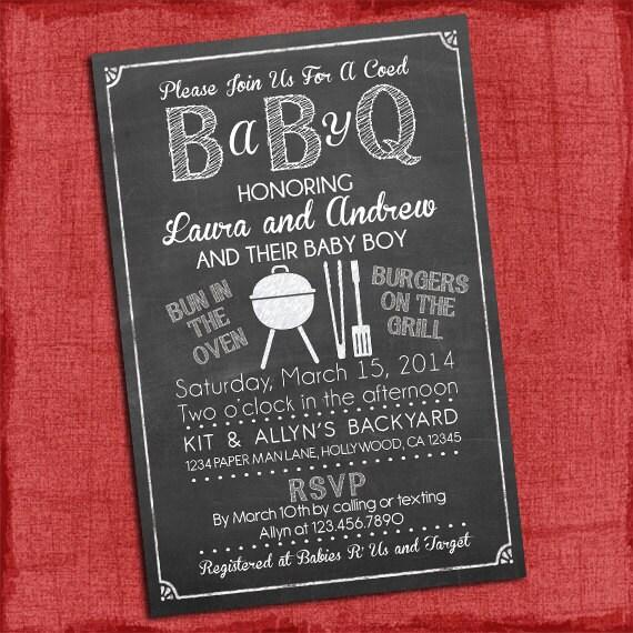 Baby Q Shower Invitation Bbq Baby Shower Babyq Barbecue Etsy