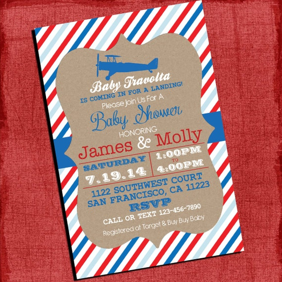 airplane theme baby shower invitation vintage invite 4x6 or 5x7