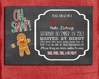Printable Chalk style Holiday Cookie Exchange Swap Party Invitation with Gingerbread Man-DIY