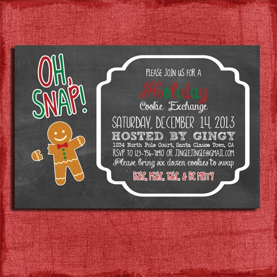 Printable Chalk Style Holiday Cookie Exchange Swap Party Etsy