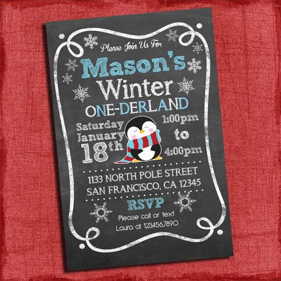 First Birthday Party Invitation Boy Chalkboard: Printable Winter ONEderland Baby Boy's First Birthday
