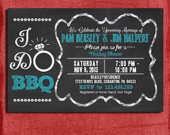 """Printable """"I Do"""" BBQ Barbecue Couples/Coed Wedding Shower Invitation-Choose your colors-DIY"""