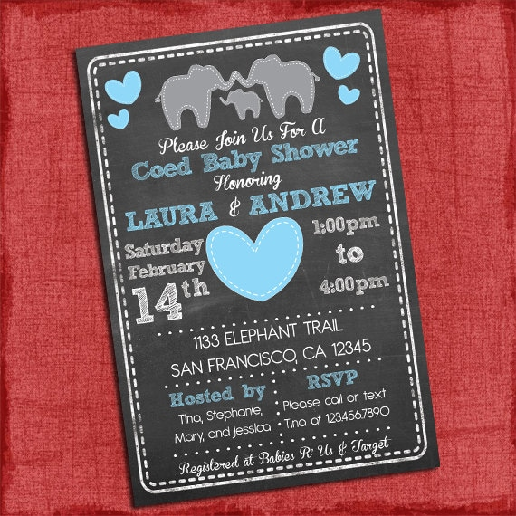 Printable Elephant Theme Coed Couples Baby Shower Invitation Baby