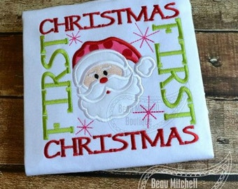 First Christmas Applique Design - Boys or Girl's Christmas Shirt
