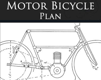How To Build A 1906 MOTOR BICYCLE Rare Old Tutorial Book 158 Pages Printable or Read on Your iPad or Tablet Instant Download