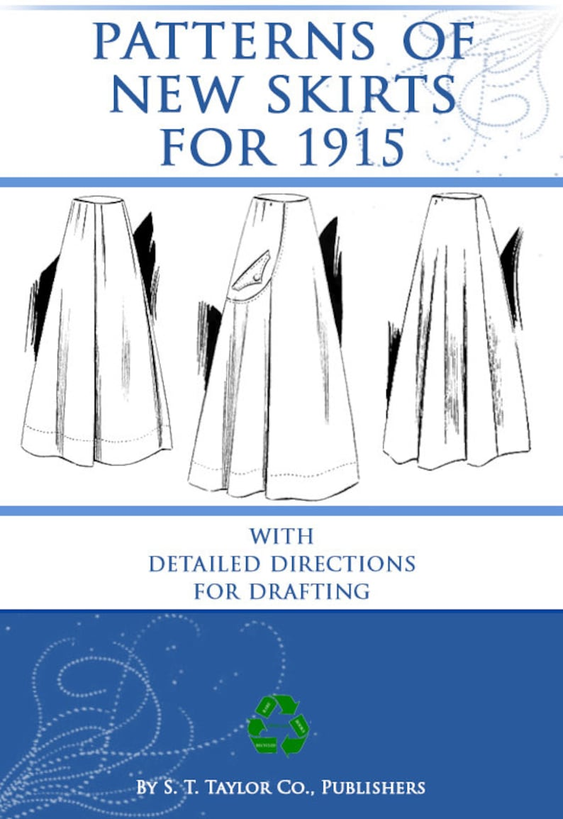 Victorian Swimsuits Patterns, Costumes | Edwardian Bathing Suits     PATTERNS Of NEW SKIRTS For 1915 with Detailed Directions for Drafting Great for Dressmakers 13pages Printable or Read on Your iPad or Tablet  AT vintagedancer.com