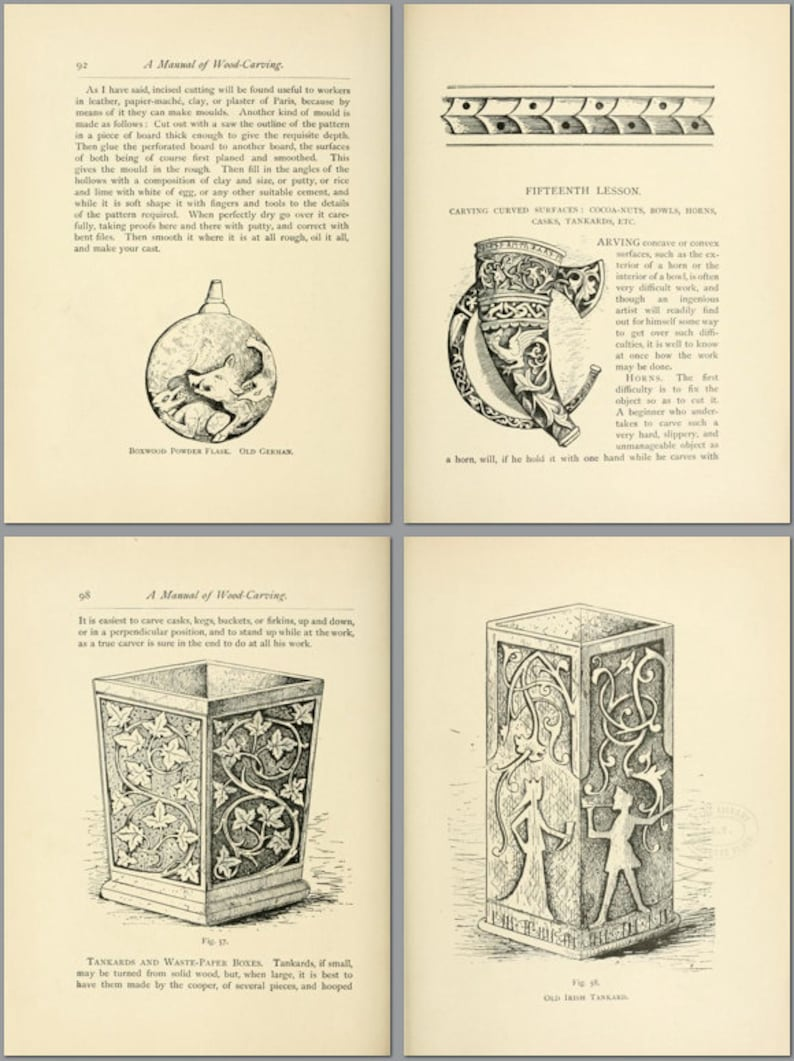 WOOD CARVING LESSONS Rare illustrated Book of 20 Lessons Teaching  Everything You Need To Know 5 Star Reviews