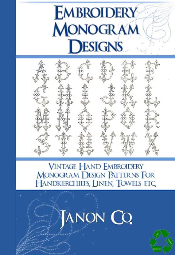 Vintage Hand Embroidery Monogram Design Patterns 100s Of Etsy