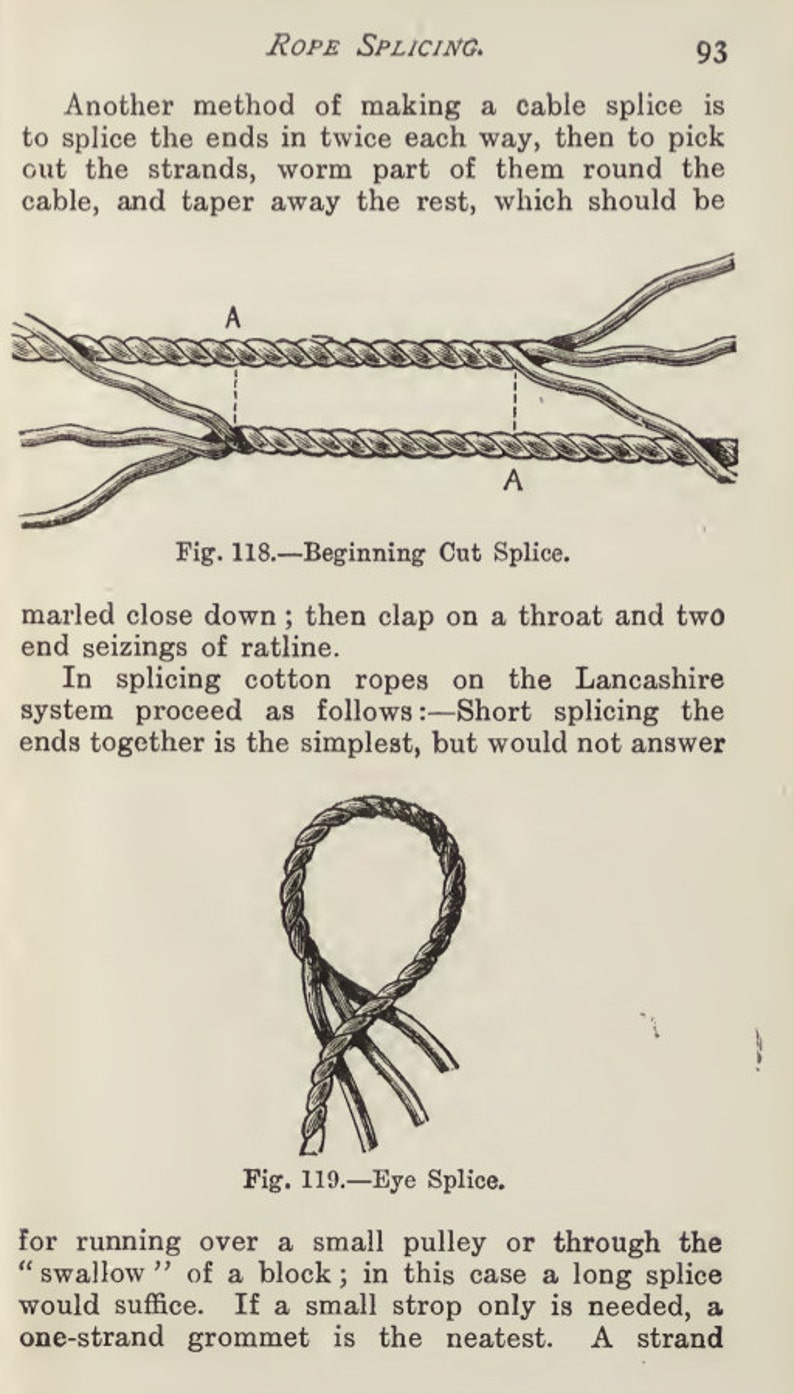 How To KNOT and SPLICE ROPES 158 Pages Illustrated Printable or Read on  Your iPad or Tablet Instant Download