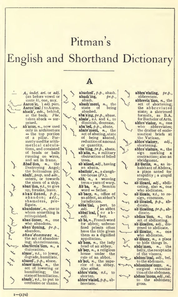 Pitmans English Shorthand Dictionary Proper Names Grammalogues Etsy