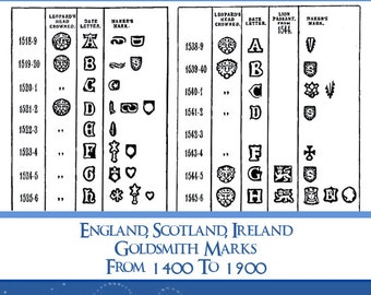 11000 English Goldsmiths Marks from 1400 to 1900 RARE Reference Hallmarks Book For Collectors over 700 Pages Read on Your iPad or Tablet