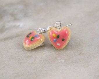 Miniature Tiny Heart shaped Sugar Cookie Polymer Clay Earrings