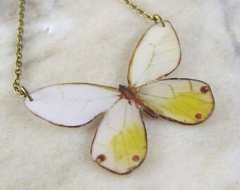 White  and Yellow blushed Butterfly Resin Art Necklace